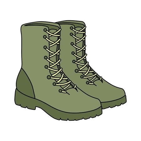Diseño de ilustración de vector de icono de equipo de botas militares