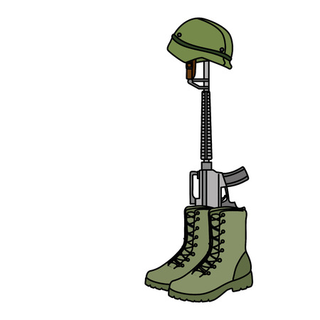 military boots with rifle and helmet vector illustration design Stock Photo