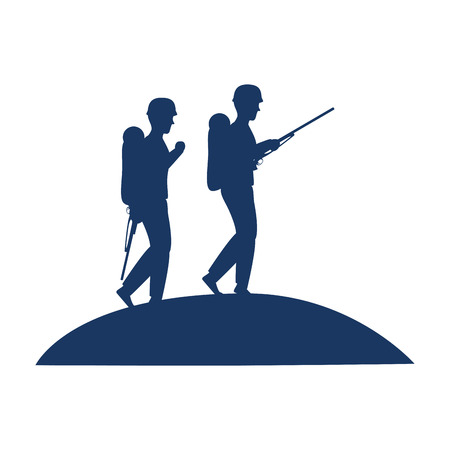 Soldiers walking with rifles silhouette vector illustration design Stock Vector - 100253855