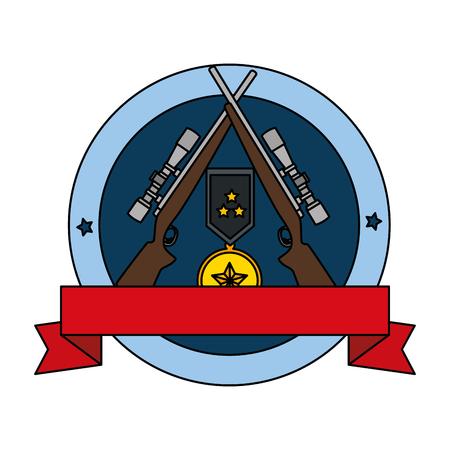 Rifles with medal emblem vector illustration design