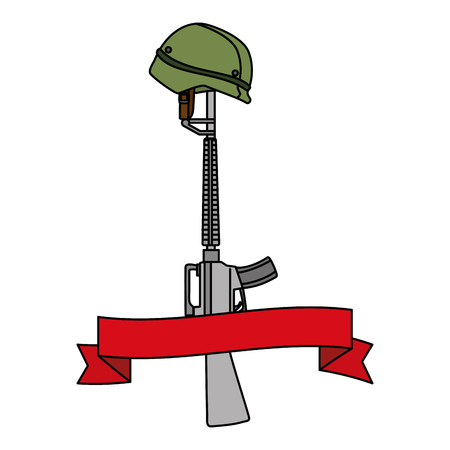 A rifle with helmet and ribbon vector illustration design