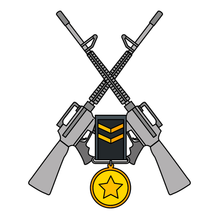 Rifles crossed with medal vector illustration design