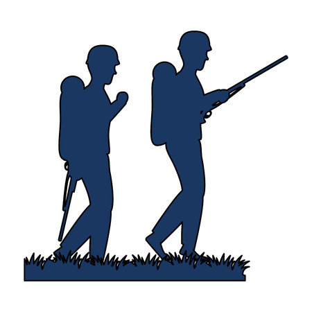 Soldiers walking with rifles silhouette vector illustration design