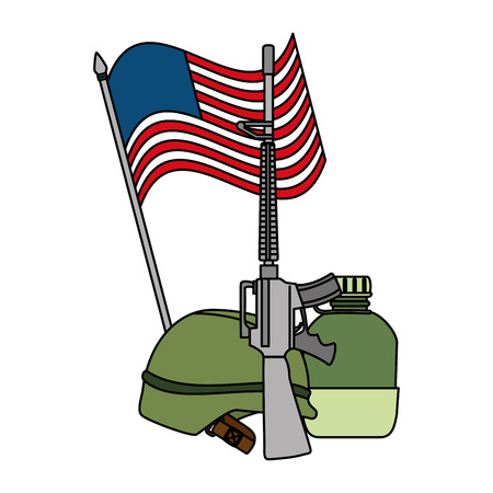 USA flag with military equipment vector illustration design
