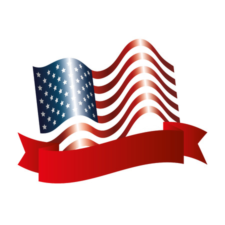 United states of america flag with ribbon vector illustration design