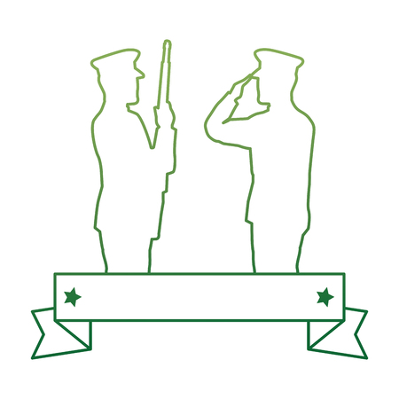 Silhouettes of military saluting and soldier vector illustration design Illustration