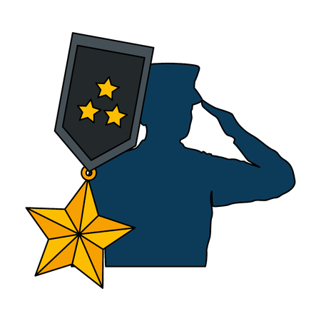 A silhouette of military saluting with medal vector illustration design