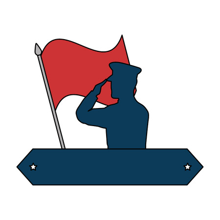 A silhouette of military saluting with flag vector illustration design