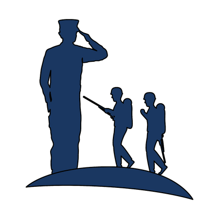 Silhouettes of military men saluting and walking vector illustration design