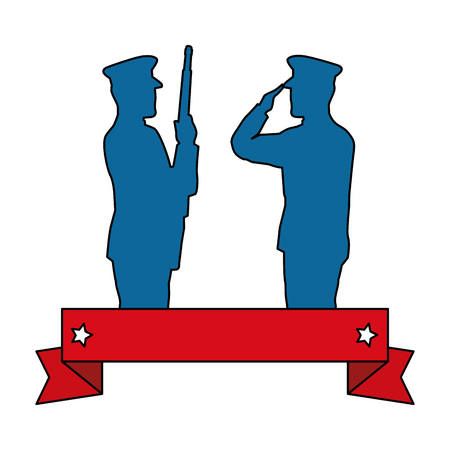 Silhouettes of military men saluting and holding rifle vector illustration design