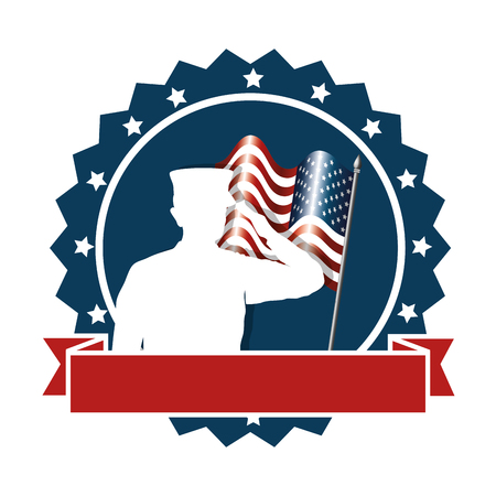 Silhouette of military saluting with USA flag vector illustration design Foto de archivo - 100253776