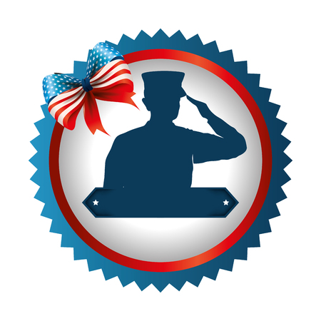 Silhouette of military saluting with bow design vector illustration.