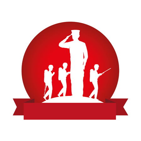 Silhouettes of military men saluting and walking on red circular frame vector illustration design