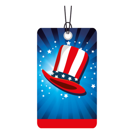 independence day commercial tag with USA hat vector illustration design