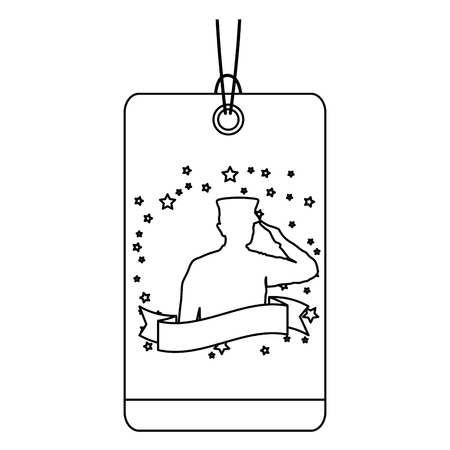 Independence day commercial tag with military silhouette vector illustration