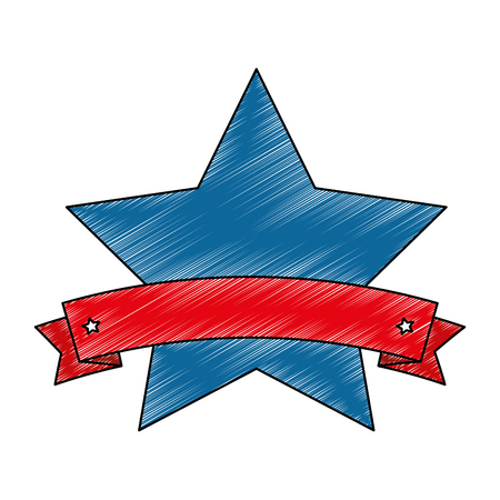 Star emblem with ribbon vector illustration design