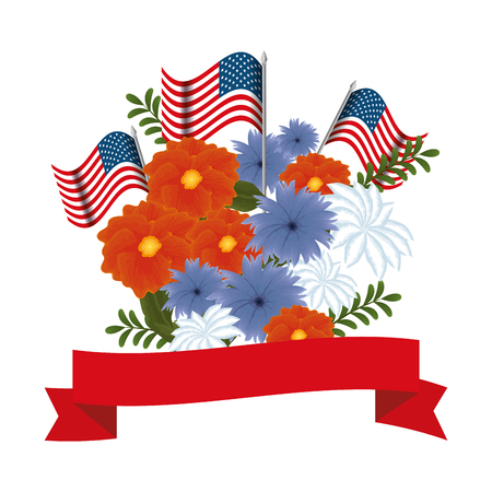 Floral decoration with usa flags and ribbon frame vector illustration design