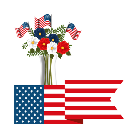 floral decoration with USA flags in vase and ribbon vector illustration design