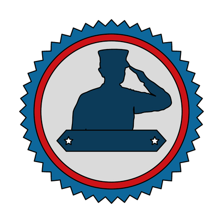 Silhouette of military saluting with ribbon vector illustration design