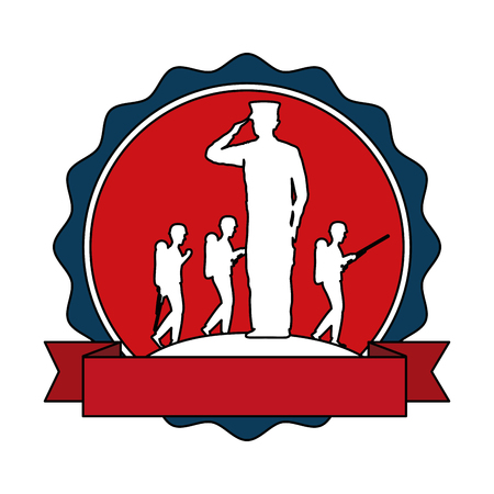 Silhouette of military saluting with tropers vector illustration design 向量圖像