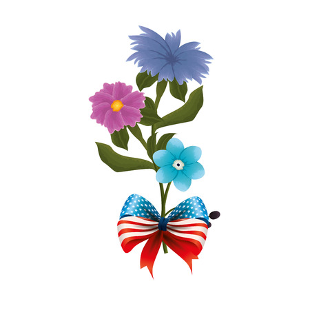 Floral decoration with USA flags and bowtie vector illustation design