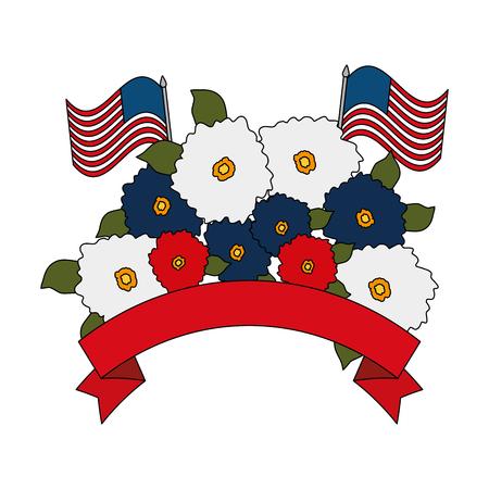 Floral decoration with usa flags frame vector illustration design