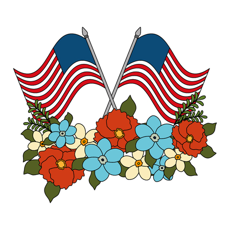 floral decoration with usa flags frame vector illustration design Stock Photo