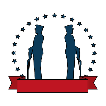 military in ceremony with rifle and stars emblem vector illustration design Stock Photo