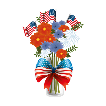 floral decoration with USA flags in vase and bowtie vector illustration design