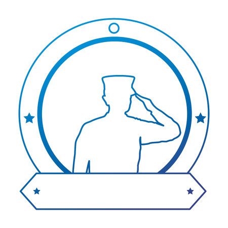 silhouette of military saluting with ribbon vector illustration design Stock Photo