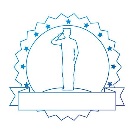 silhouette of military saluting with ribbon vector illustration design 版權商用圖片