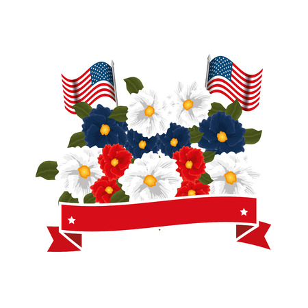 floral decoration with usa flags and ribbon frame vector illustration design Stock Photo