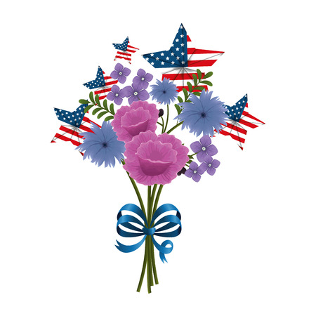 floral decoration with USA flags and bowtie vector illustation design Stock fotó