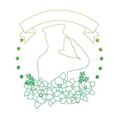 silhouette of military saluting with floral decoration vector illustration design