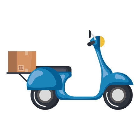 scooter bike with carton box vector illustration design Ilustrace