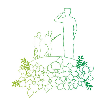 silhouettes of military with floral decoration vector illustration design