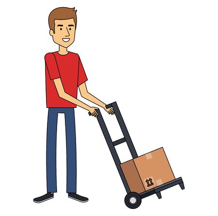 young man with cart transport box vector illustration design Illustration