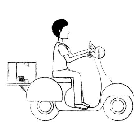 courier in motorcycle delivery service vector illustration design Banco de Imagens