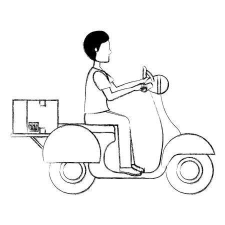 courier in motorcycle delivery service vector illustration design Stock Photo