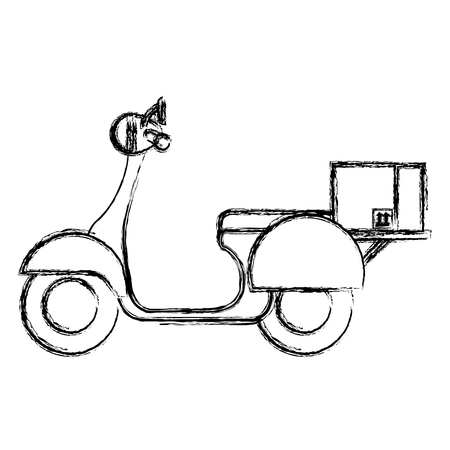 scooter bike with carton box vector illustration design Stock fotó