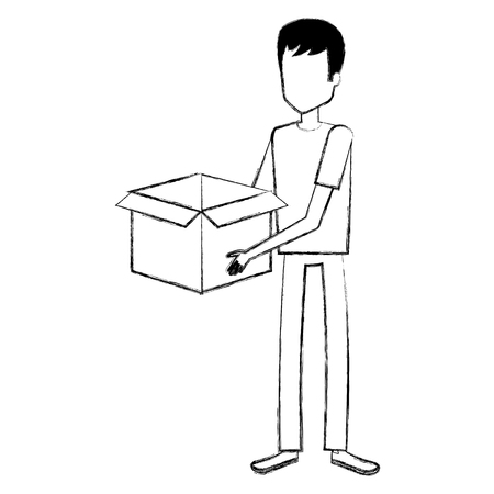 young man with box character vector illustration design