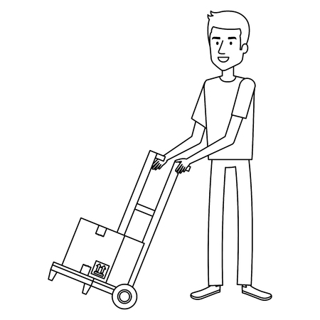 young man with cart transport box vector illustration design Stock Vector - 100260144