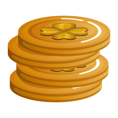 pile coins with clover icon vector illustration design