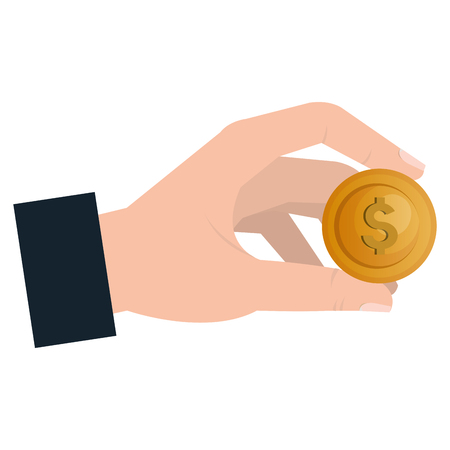 hand with coin money isolated icon vector illustration design 写真素材 - 100266258