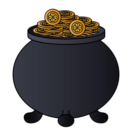 saint patrick cauldron with treasure coins vector illustration design