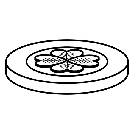 Coin with clover icon vector illustration design.