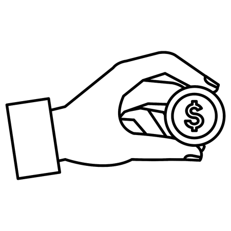 Hand with coin money isolated icon vector illustration design. Ilustração