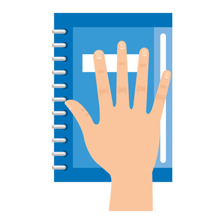 hand with text book vector illustration design