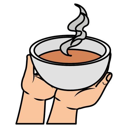 Levantamiento de mano plato sopa, diseño de ilustraciones vectoriales