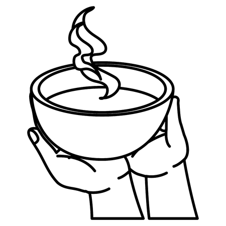 hand lifting dish soup vector illustration design Standard-Bild - 100266255